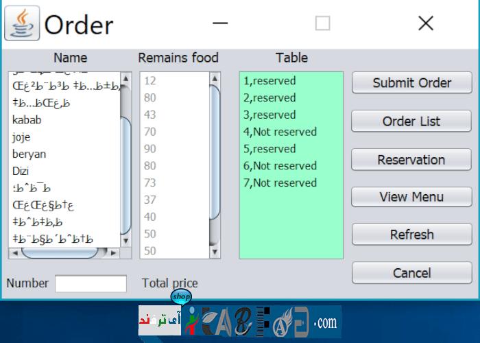 itarfand-110 سورس کد مدیریت رستوران به زبان Java